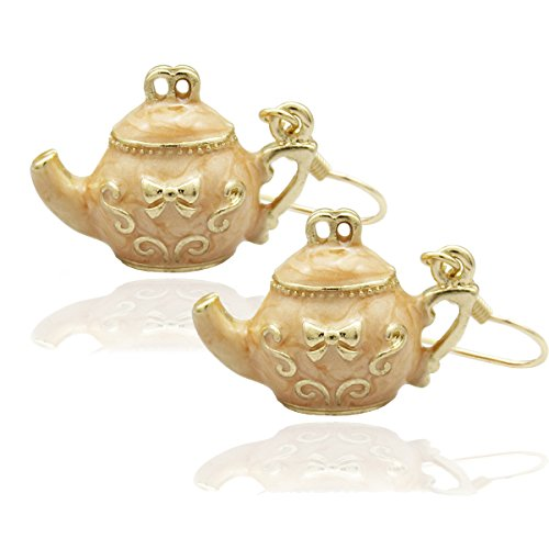 Gold RechicGu Tea Pot Bow Tie Emboss Art Deco Earrings Party AliCe In WoNdErlaNd Fancy Dress