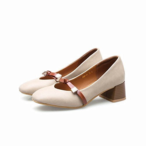 Mee Shoes Damen chunky heels slip on Geschlossen Pumps Aprikose