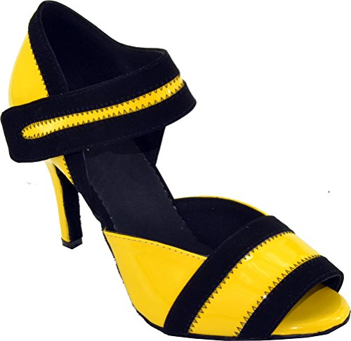 Abby Womens Comfort Latin Modern Tango Cha-cha Custom Heel Peep-toe PU Professional Dance-shoes Yellow 1RBM6v31dT
