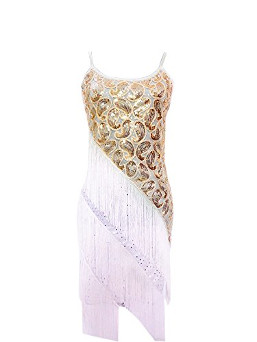 Whitewed Retro 1920's Cami Great Gatsby Inspired Style Fashion Dress , White/gold, 10/12 (The Great Gatsby Dresses For Sale)