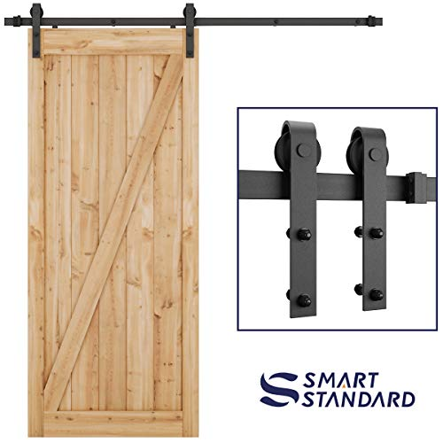 SMARTSTANDARD 6.6 Foot Heavy Duty Sliding Barn Door Hardware Kit -Smoothly and Quietly -Easy to Install -Includes Step-By-Step Installation Instruction Fit 36