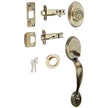 Kwikset 801CELIP-5 Chelsea Double Cylinder Exterior Handleset Antique Brass Finish