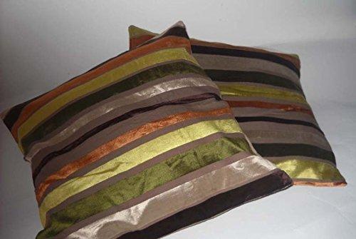 COPPIA CUSCINI ARREDO righe verde marrone divano soggiorno: Amazon ...