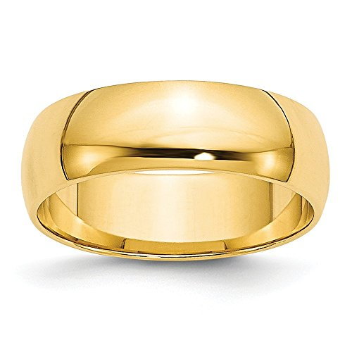 Jewelry Stores Network Solid 14k Yellow Gold 6 mm Rounded Wedding Band Ring 14k Gold Womens Wedding Band 6mm