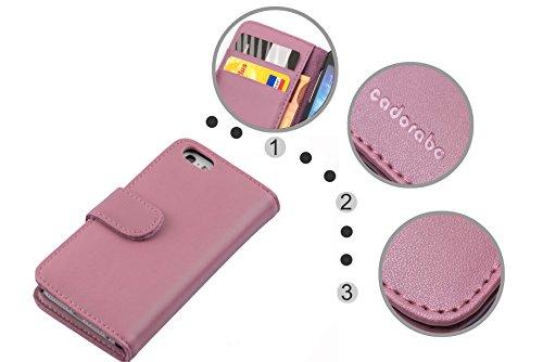 Cadorabo - Funda Apple iPhone 4 / 4S / 4G Book Style de Cuero Sintético Liso en Diseño Libro - Etui Case Cover Carcasa Caja Protección con Tarjetero en ROSA-ANTIGUO ROSA-ANTIGUO