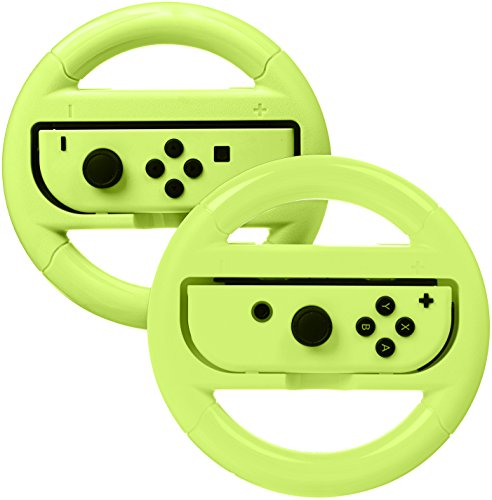 (AmazonBasics Steering Wheel Controller for Nintendo Switch - Pack of 2, Neon Yellow)