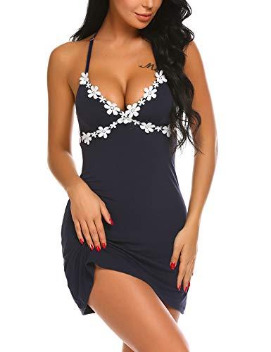 Knee Length Chemise - MAXMODA Women's Full Slip Modal Sleepwear Strap Nightgown V Neck Chemise Lace Lingerie (Navy Blue L)