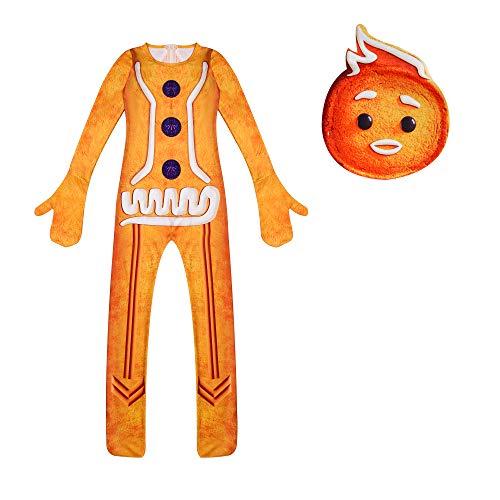 Kids Girls Gingerbread Man Cookie Christmas Cosplay Costume Cartoon Pattern Dress with Mask 3-10 Y Orange