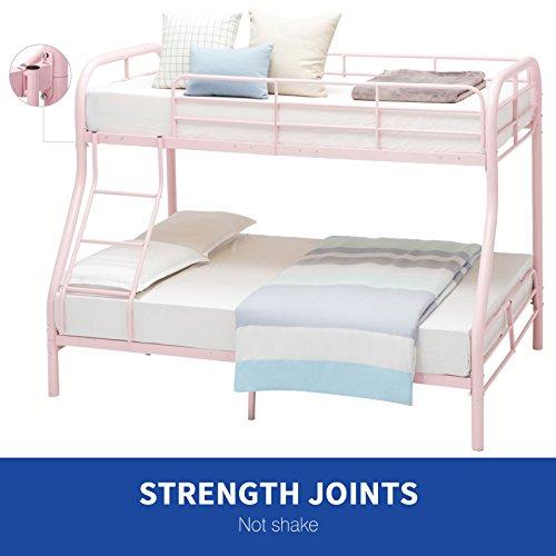 [DFM Twin over Full Bunk Bed Metal Ladder Kid Teen Dorm Loft Bedroom Furniture,Pink] (Metal Dorm Loft Beds)