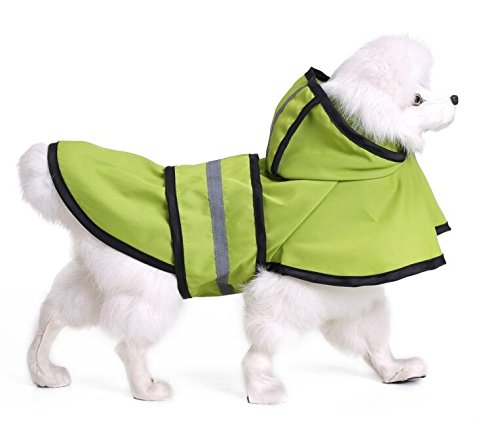 PvxgIo Ropa Impermeable para Mascotas Reflectante Impermeable Verde S