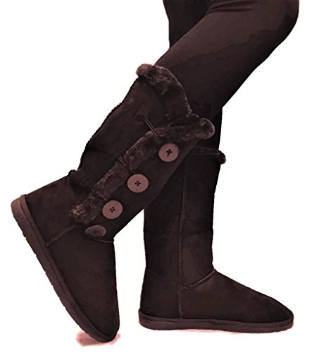 Womens TRISH Soft Fur Lined Warm Winter Boot Mid Calf Faux Suede Girls, New Brown Tall, 10 (Eskimo Outfit)