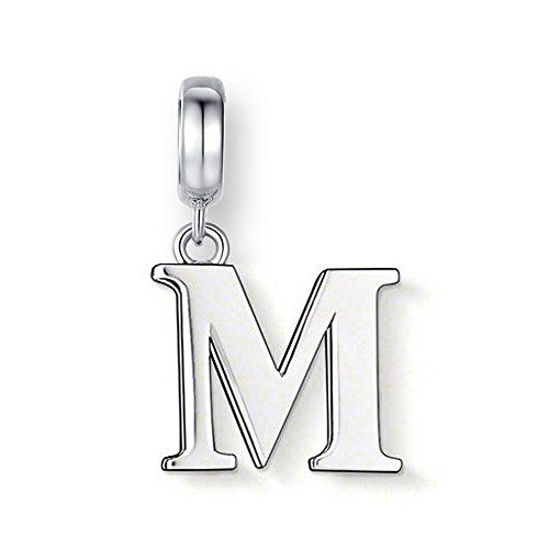"Glamulet 925 Sterling Silver Letter ""A - Z"" Dangle Charm Fits Pandora Chamilia, M"