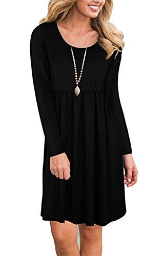 Women's Autumn Round Neck Dress Solid Color Ladies Casual Dress - 8