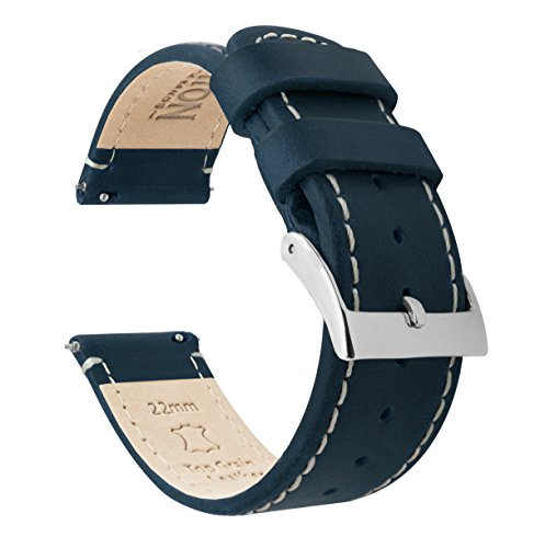 Barton Quick Release - Top Grain Leather Watch Band Strap - Choice of Width - 16mm, 18mm, 19mm, 20mm, 21mm 22mm, 23mm or 24mm- Navy/Linen 22mm