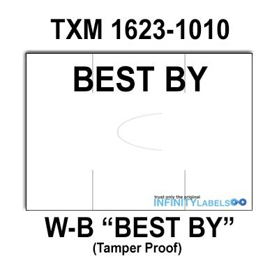 160,000 X-Mark 1623 compatible ''Best By'' White General Purpose Labels to fit the TXM 1623-1010 Price Guns. Full Case. by Infinity Labels
