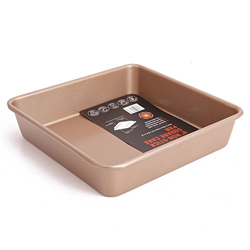 CHEFMADE WK9040 8-Inch Square Cake Pan, FDA Approved Non-Stick Deep Dish Ceramic Coated Steel Oblong Cake Pan (9.4X9.4X1.9 Inch Champagne Gold) Oven Roasting Baking Loaf Pan US Stocked