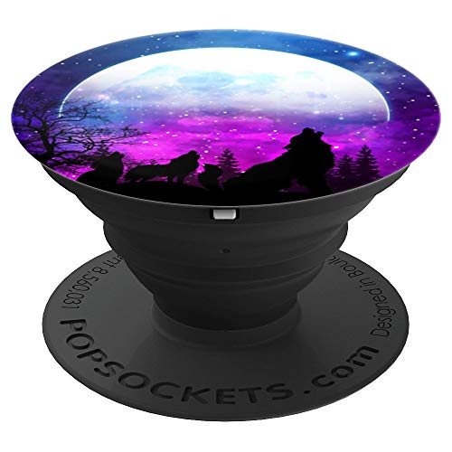 Purple Wolf - Purple Color Moon Phone Grip - Wolf Mom with Two Kids - PopSockets Grip and Stand for Phones and Tablets