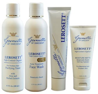 LEROSETT 4-Part Organic Acne System Based on Nutrient Rich Organic Aloe- Naturally Medicated- Treats and Prevents Breakouts- Nourishes Skin- Antibacterial- Anti-Inflammatory-Oil-Free (Lerosett Moisture)