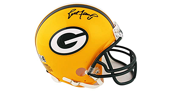Amazon Com Brett Favre Autographed Green Bay Packers Mini Helmet Signed Sports Collectibles