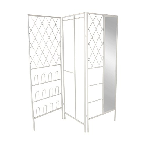 Kate and Laurel Tamworth Metal Free Standing Closet with Mirror and Shoe Rack, White by Kate and Laurel