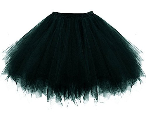 MsJune Women's 1950s Vintage Petticoats Crinolines Bubble Tutu Dance Half Slip Skirt Black-S/M (80s Womens Fancy Dress)