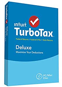 TurboTax Deluxe 2015 Federal + State Taxes + Fed Efile Tax Preparation Software - PC/MacDisc