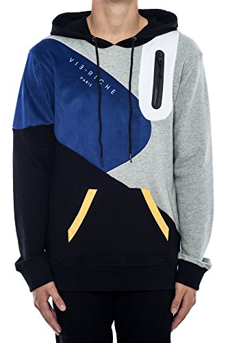 Vie + Riche Men's Color Block Tech Hoodie Sweatshirt-Black-M by Vie Riche