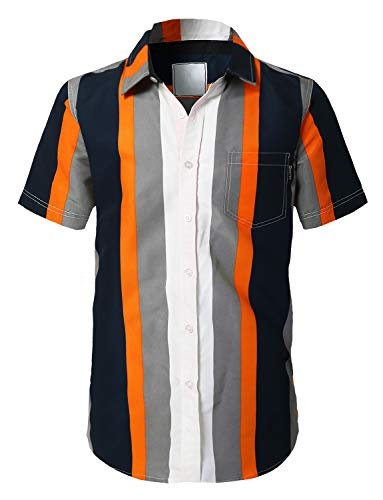 URBANCREWS Mens Hipster Hip Hop Casual Short Sleeve Button Down Striped Shirts Orange - XL ()