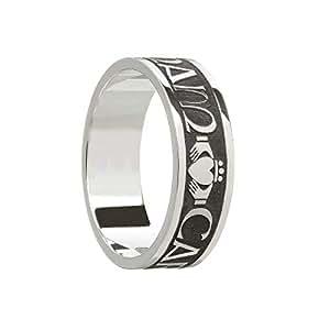 Boru Mens Claddagh Wedding Band Oxidized Silver Mo Anam Cara Made in Ireland