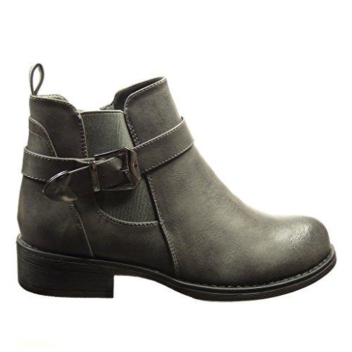 Angkorly - Zapatillas de Moda Botines chelsea boots mujer Hebilla metálico Talón Tacón ancho 3 CM - Gris