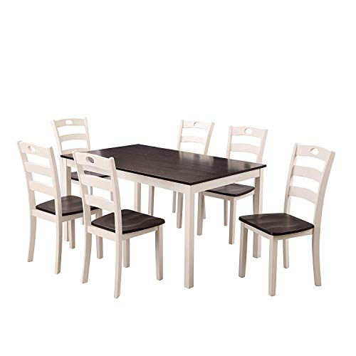 Harper & Bright Designs Dining Table Set for 6 Person, Kitchen Dining Room Table Set of 7, Dining Table and 6 Chairs (White) (Dining Table Set Person 6)