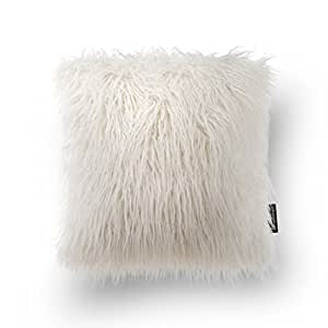 "Phantoscope Decorative Off-White Faux Fur 18"" x 18"" Pillow with Insert Included"