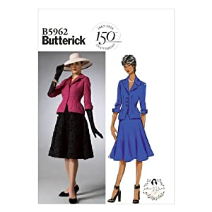 Women's 1940s Victory Suits and Utility Suits Butterick Patterns B5962 Misses/Misses Petite Jacket and Skirt Sewing Templates Size B5 (8-10-12-14-16) $2.79 AT vintagedancer.com
