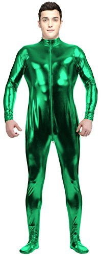 Halloween Costume Man Condom (VSVO Adult Green Shiny Metallic Front Zipper Unitard Bodysuit Costume (Medium,)