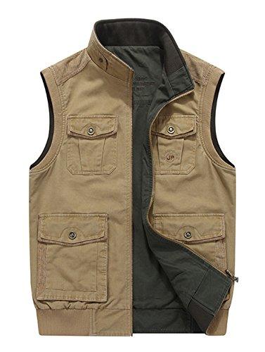 Chartou Men s Practical Cotton Reversible Photography Fish Outdoor Vest Jacket