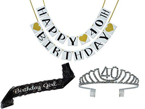 Birthday Party Supplies and Decorations - Sash, Tiara, and Banner All-in-One Pack (40th Birthday)
