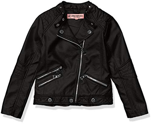 Urban Republic Big Girls Printed Faux Leather Jacket, Black, 14 ()