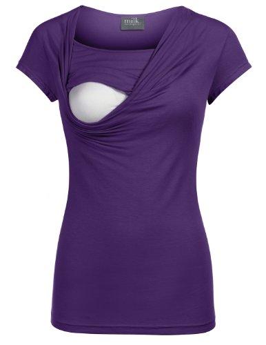 Milk Nursingwear Cowl Neck Nursing Top in Short Sleeves-M-Purple