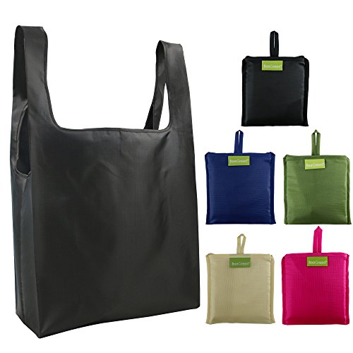 Reusable Bags Set of 5, Grocery Tote Foldable into Attached Pouch, Ripstop Polyester Reusable Shopping Bags, Washable, Durable and Lightweight - Women Shopping Hot
