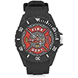 Cool Fireman Emblem on Iron Plate Kids' Round Rubber Sport Watch Christmas Day Gift