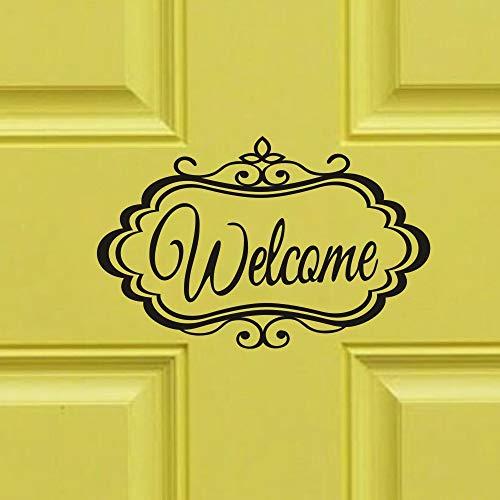 Welcome Black Decal for Front Door Office Door Sign Sticker Vinyl Art Quote Decor
