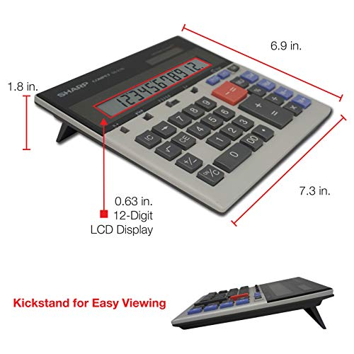 Sharp QS-2130 12-Digit Commercial Desktop Calculator with Kickstand, Arithmetic Logic, Battery and Solar Hybrid Powered…