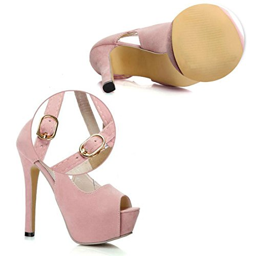 Elegant Women Heels Stiletto Club Ladies Shoes Sandals High Strap Ankle Peep Buckle Court 2017 Sexy For With Pink Party Strappy Toe Dress 8qwZdcp