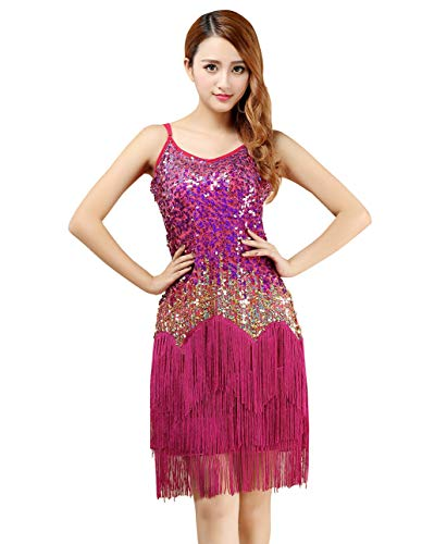 Women Sexy Tassels Latin Dance Dress Sparkling Sequins 1920s Vintage Flapper Dress Great Gatsby Party Costumes Rose Red]()