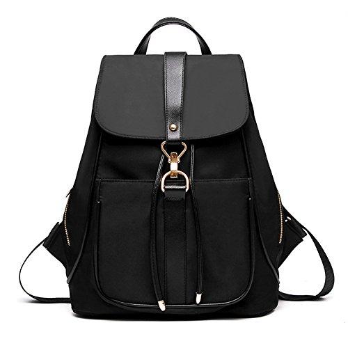 fanhappygo - Bolso mochila  de nailon para mujer negro