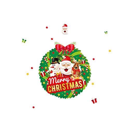 Sharon Church Cartoon Snowman Santa Window Sticker Christmas Gift Home Decor Sticker for bedroom outdoor indoor operated colored decorations clearance under ornaments sale (Orange Crush Glass Clock)