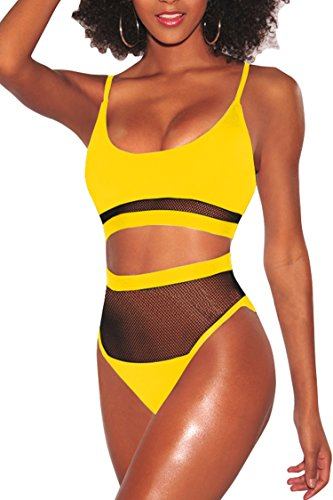 Pink Queen Women's Strap Mesh Patchwork High Waisted Swimming Suit Yellow L