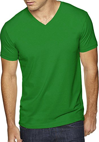 Hat and Beyond Mens V Neck Tee Solid Fit T Shirts S-2XL 1B0004 (X-Large,1hc04_ Green)