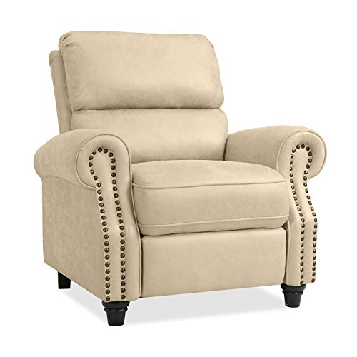 - Domesis Cortez Push Back Recliner Chair in Latte Tan Distressed Faux Leather