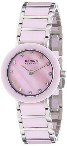 Bering Time  Ceramic – Reloj de cuarzo para mujer, con correa de diversos materiales, color rosa